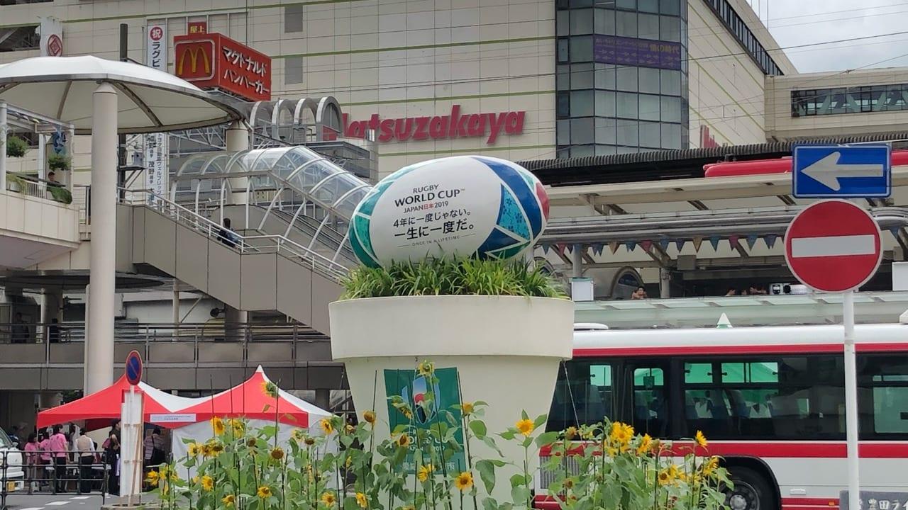 豊田市駅前のラグビーモニュメント