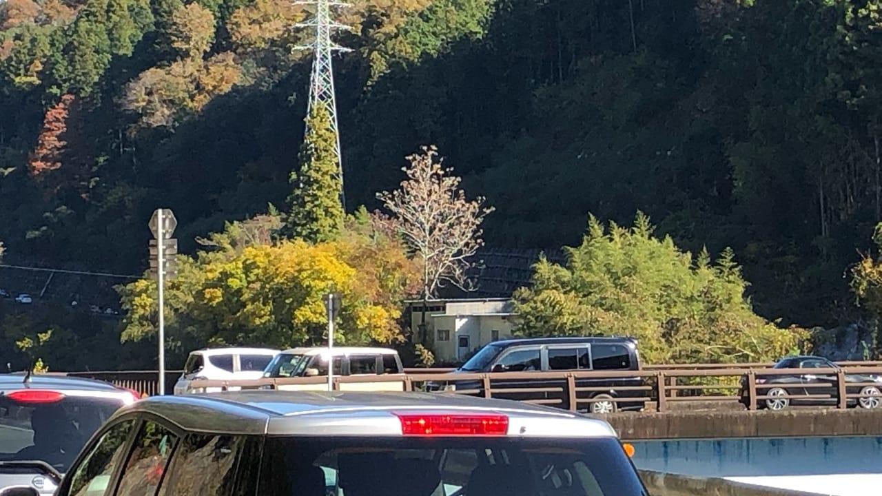 香嵐渓の渋滞回避する車