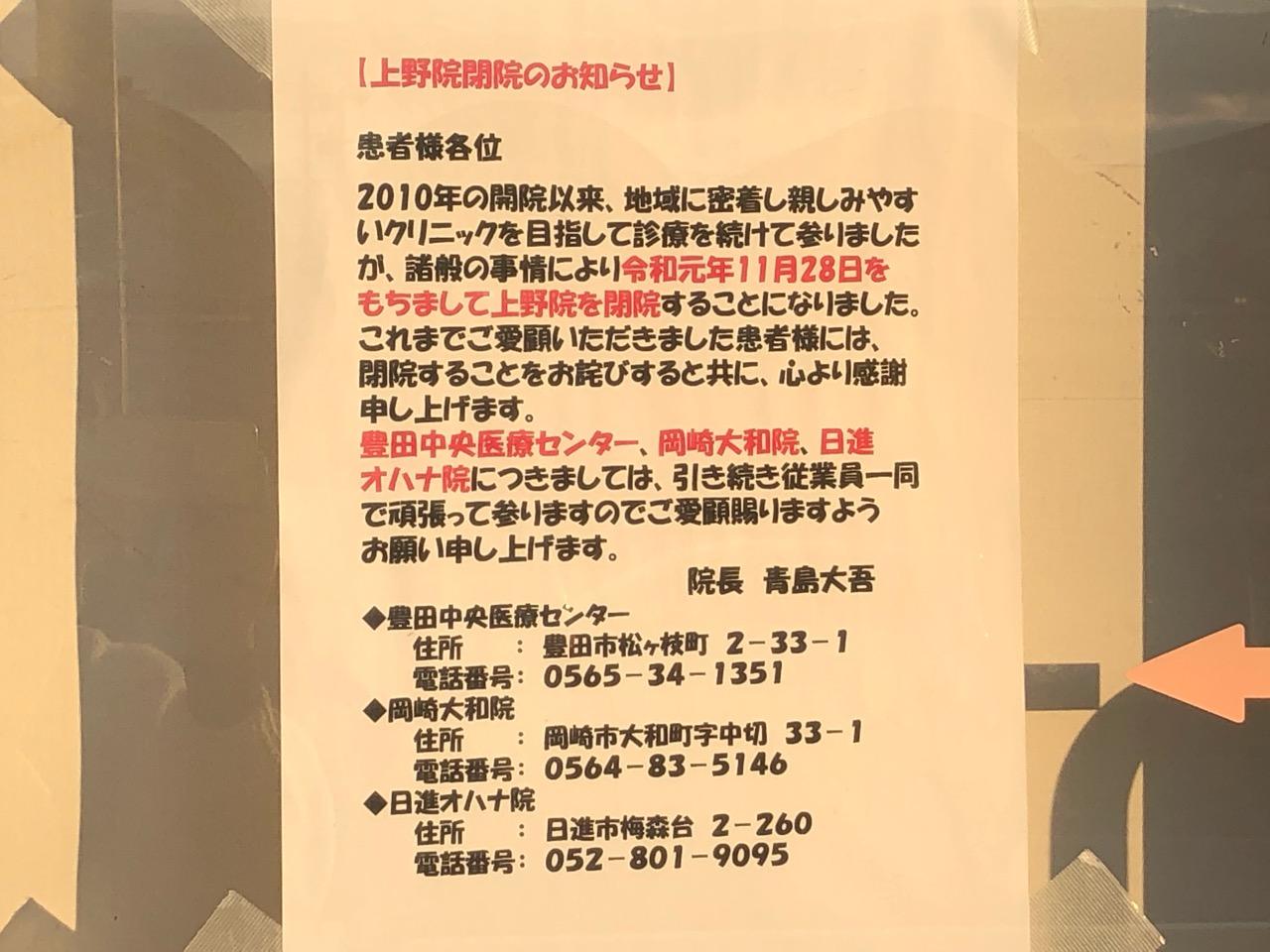 11月28日に閉院したダイゴペットクリニック閉院